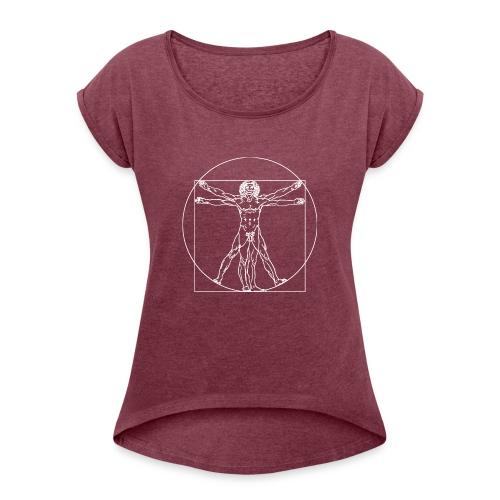 Vitruvian Man (da Vinci) - Women's Roll Cuff T-Shirt