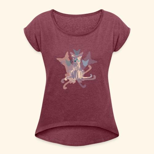 Feline of Obscure Symmetry - Women's Roll Cuff T-Shirt