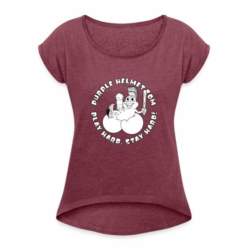 Petey Purple Helmet Bean Bags B & W - Women's Roll Cuff T-Shirt