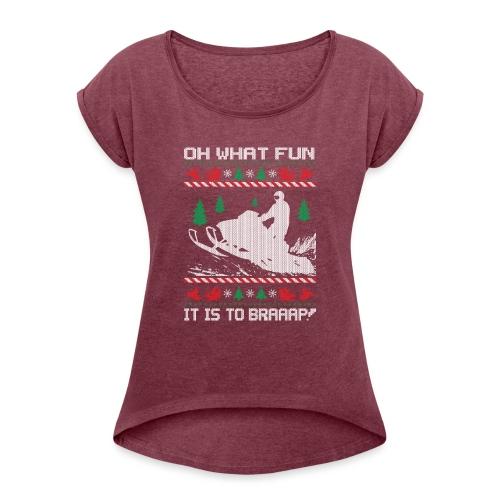 Snowmobile Fun Christmas - Women's Roll Cuff T-Shirt