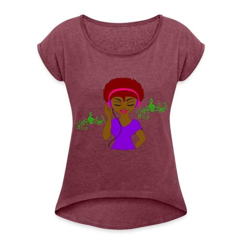 Afro DJ girl - Women's Roll Cuff T-Shirt