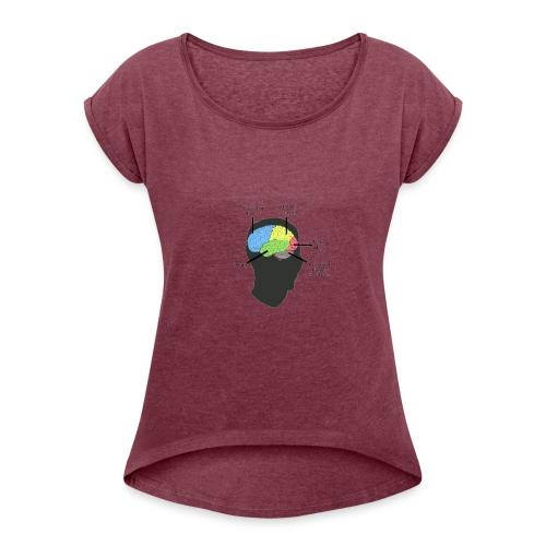 Corbin YT brain diagram - Women's Roll Cuff T-Shirt