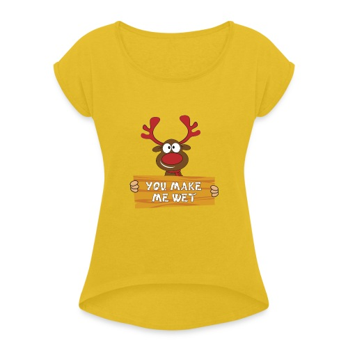Red Christmas Horny Reindeer 2 - Women's Roll Cuff T-Shirt