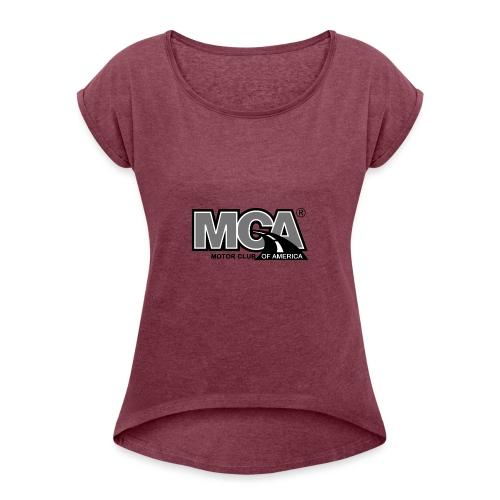 MCA Logo WBG Transparent BLACK WHITE TITLEfw fw pn - Women's Roll Cuff T-Shirt
