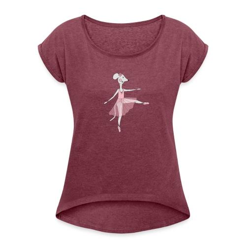 Ballerina Mouse - Women's Roll Cuff T-Shirt