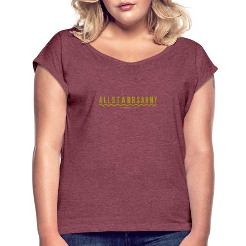 Womens AllStarrs Army Stamp Clothing - Women's Roll Cuff T-Shirt