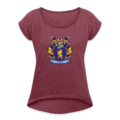 Evans Family Crest - Women's Roll Cuff T-Shirt