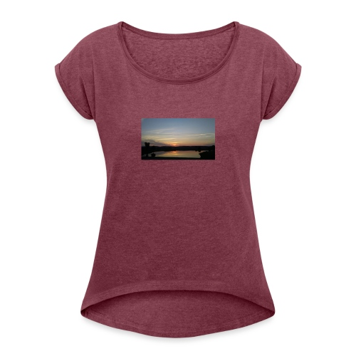 Sunset on the Water - Women's Roll Cuff T-Shirt