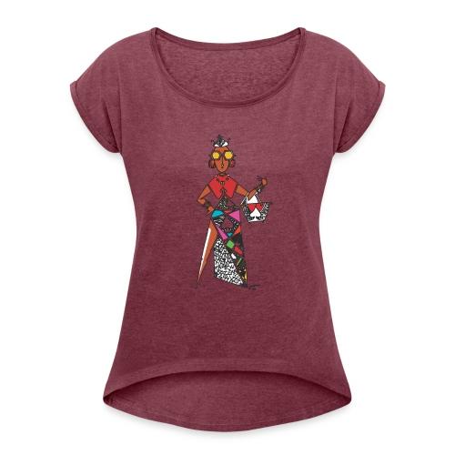 Kwame's Queen Of Spades - Women's Roll Cuff T-Shirt
