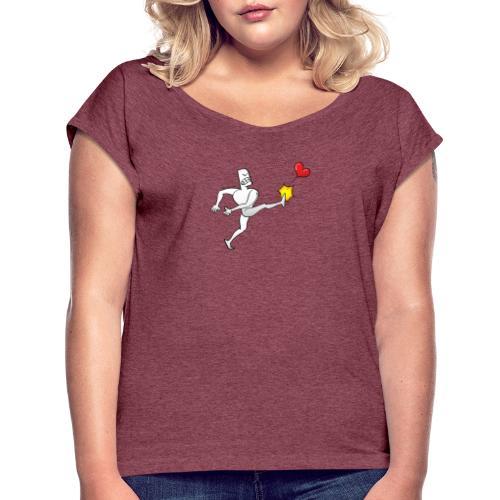 Furious white man violently kicking a red heart - Women's Roll Cuff T-Shirt