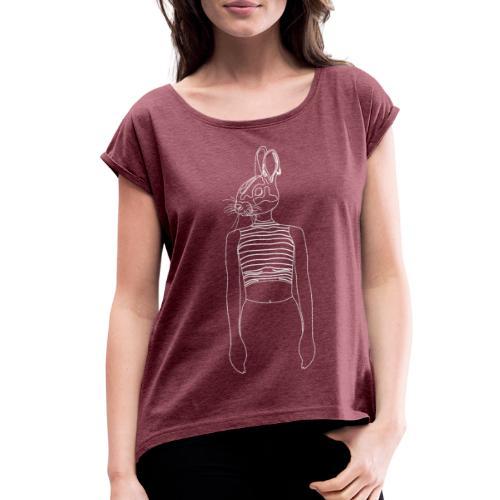 Hipster Rabbit White - Women's Roll Cuff T-Shirt