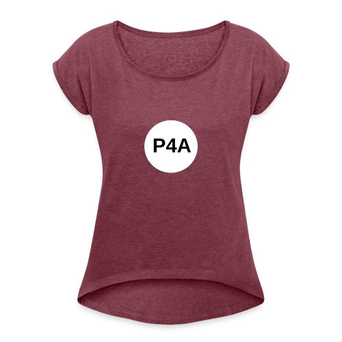 16-white-circle-magnet-board_-1- - Women's Roll Cuff T-Shirt
