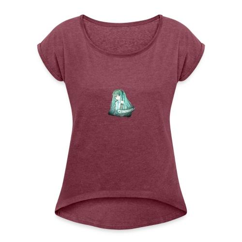 Summrrz Logo Transparent - Women's Roll Cuff T-Shirt