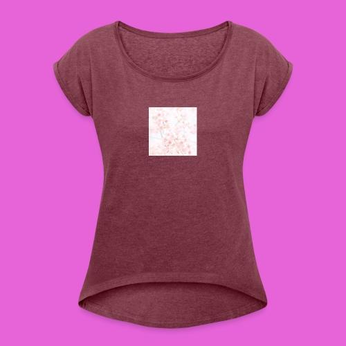 cute flower design - Women's Roll Cuff T-Shirt