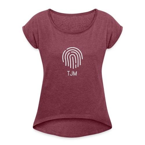 White TJM logo - Women's Roll Cuff T-Shirt