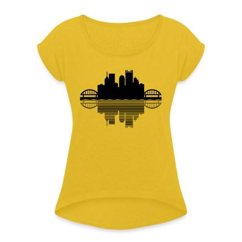 Pittsburgh Skyline Reflection (Black) - Women's Roll Cuff T-Shirt
