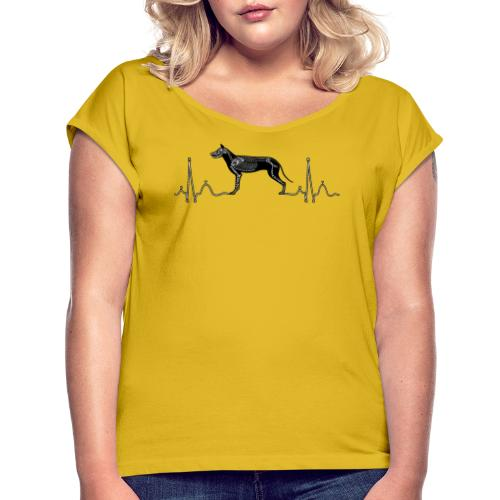 ECG with Dog - Women's Roll Cuff T-Shirt