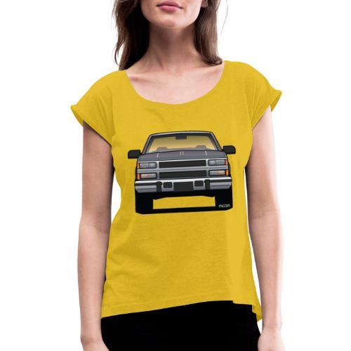 Design Icon: American Bowtie Silver Urban Truck - Women's Roll Cuff T-Shirt