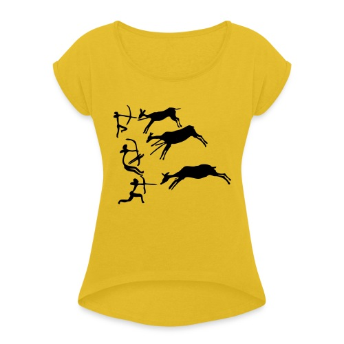 Lascaux Cave Painting - Women's Roll Cuff T-Shirt
