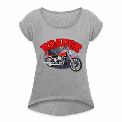 Motorcycle Reaper - Women's Roll Cuff T-Shirt