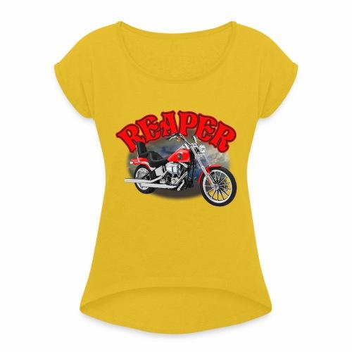 Motorcycle Reaper - Women's Roll Cuff T-Shirt