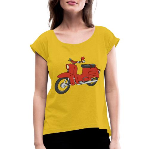 Schwalbe, ibiza-red scooter from GDR - Women's Roll Cuff T-Shirt