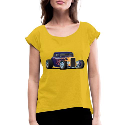 Vintage Hot Rod Car with Classic Flames - Women's Roll Cuff T-Shirt