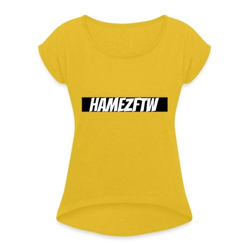 pink-youtube-banner-template_18772 - Women's Roll Cuff T-Shirt
