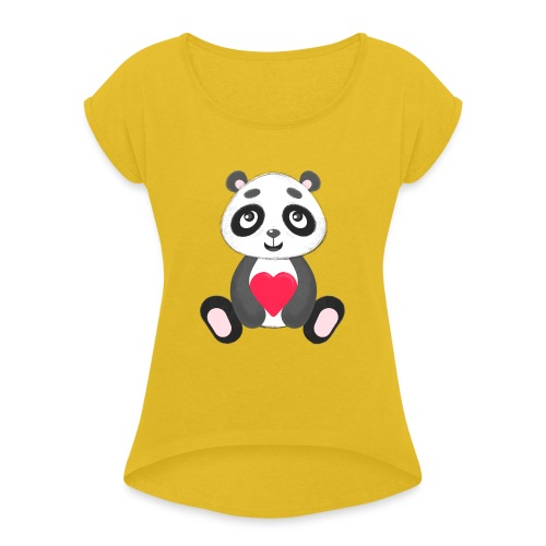 Sweetheart Panda - Women's Roll Cuff T-Shirt