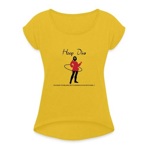 Hoop Diva - Red - Women's Roll Cuff T-Shirt