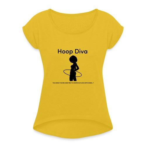 Hoop Diva Black Silhouette - Women's Roll Cuff T-Shirt