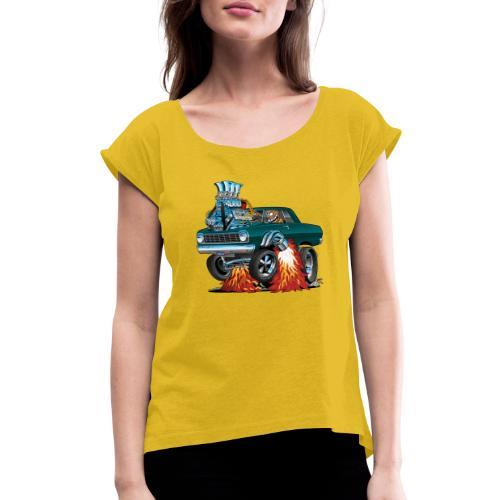 Sixties American Classic Muscle Car Cartoon - Women's Roll Cuff T-Shirt