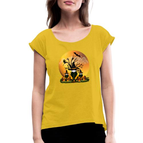 Happy Halloween with 3 masked cats - Women's Roll Cuff T-Shirt