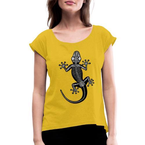 Skeleton Gecko - Women's Roll Cuff T-Shirt