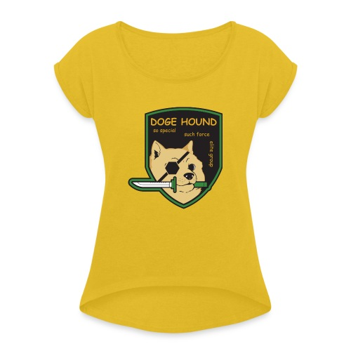 Doge Hound Metal Gear Solid - Women's Roll Cuff T-Shirt