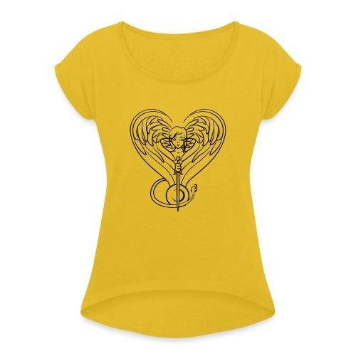 Sphinx valentine - Women's Roll Cuff T-Shirt