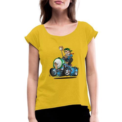 Hot Rod Electric Car Cartoon - Women's Roll Cuff T-Shirt