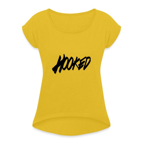 Hooked black logo - Women's Roll Cuff T-Shirt