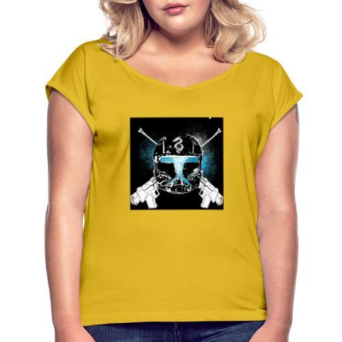 masked guns - Women's Roll Cuff T-Shirt