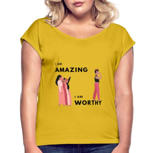 Amazing Short Sleeves T-Shirt - Women's Roll Cuff T-Shirt