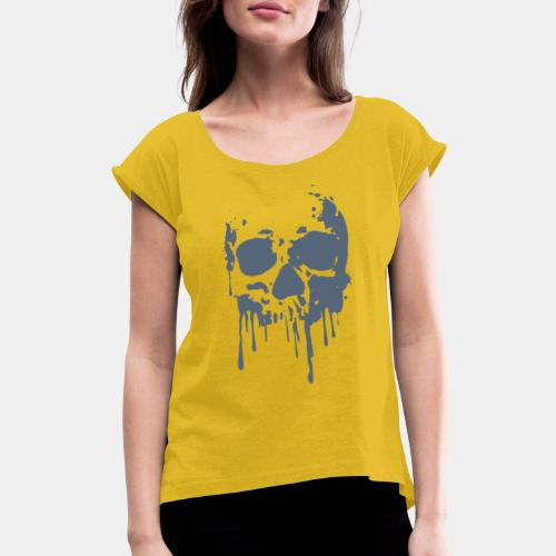 skull blood - Women's Roll Cuff T-Shirt