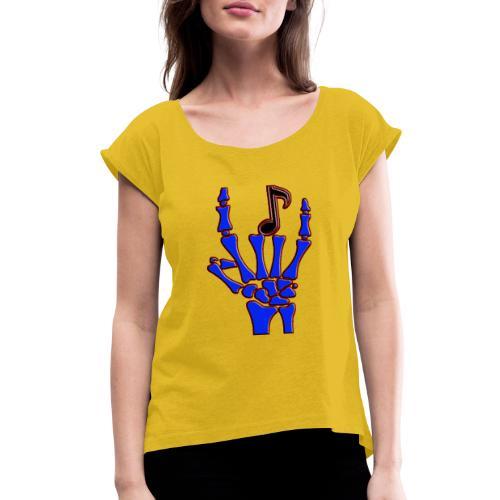 Rock on hand sign the devil's horns - Women's Roll Cuff T-Shirt
