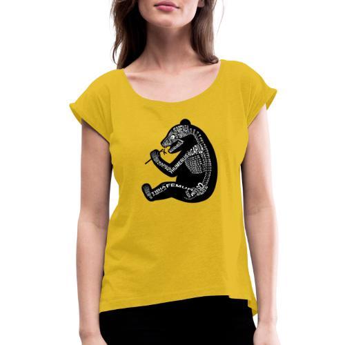 Skeleton Panda - Women's Roll Cuff T-Shirt