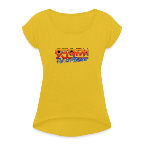 93QFM Retro 80s Logo - Women's Roll Cuff T-Shirt