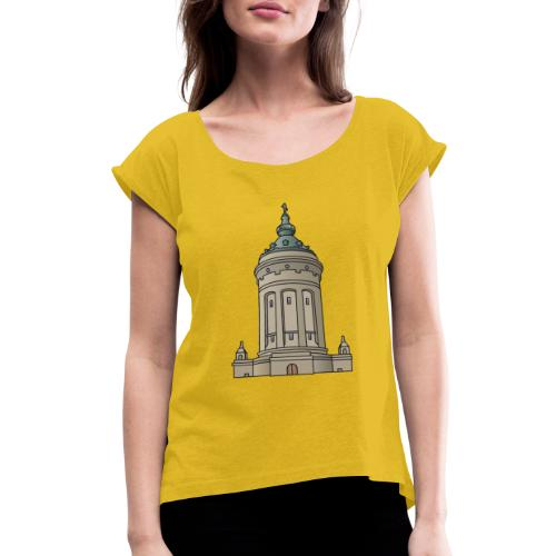 Mannheim water tower - Women's Roll Cuff T-Shirt