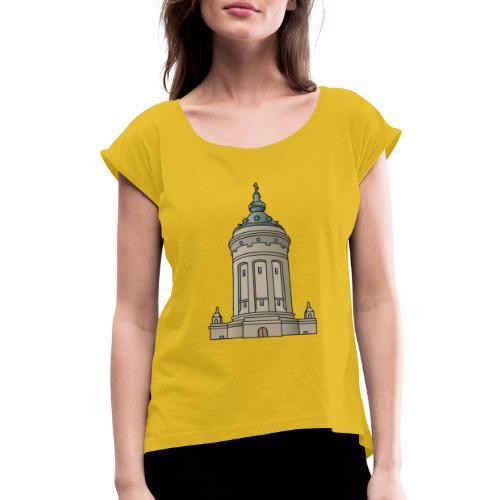 Mannheim water tower - Women's Roll Cuff T-Shirt