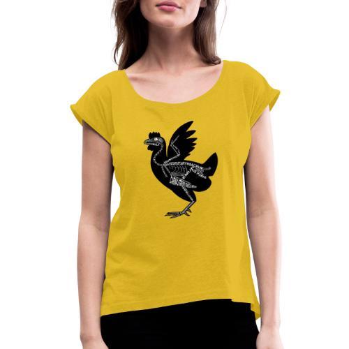 Skeleton Chicken - Women's Roll Cuff T-Shirt