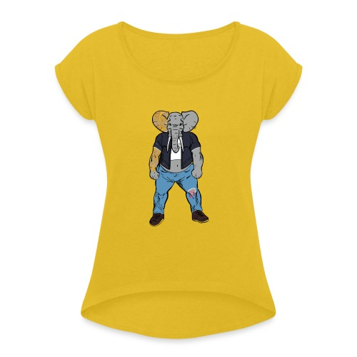 Dumbo Fell in the Wrong Crowd - Women's Roll Cuff T-Shirt