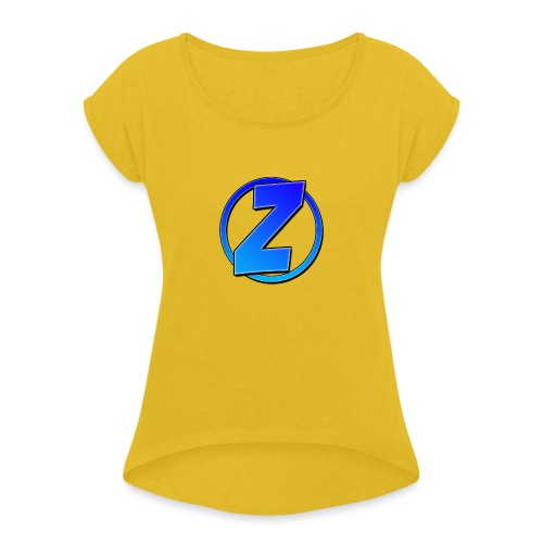 Blue Ziffy logo Shirt - Women's Roll Cuff T-Shirt