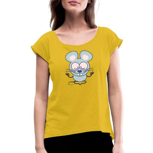 Gray mouse peacefully meditating in lotus pose - Women's Roll Cuff T-Shirt